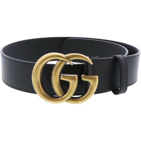 Gucci Women's Black Wide Leather Belt With Double G Buckle - 28 Inches
