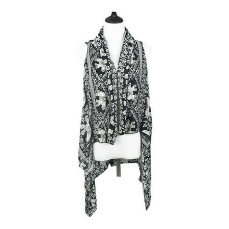 Elephant Wrap - TrendsBlue Pure Cotton Floral & Elephant Kimono Wrap Vest Beach Cover Up