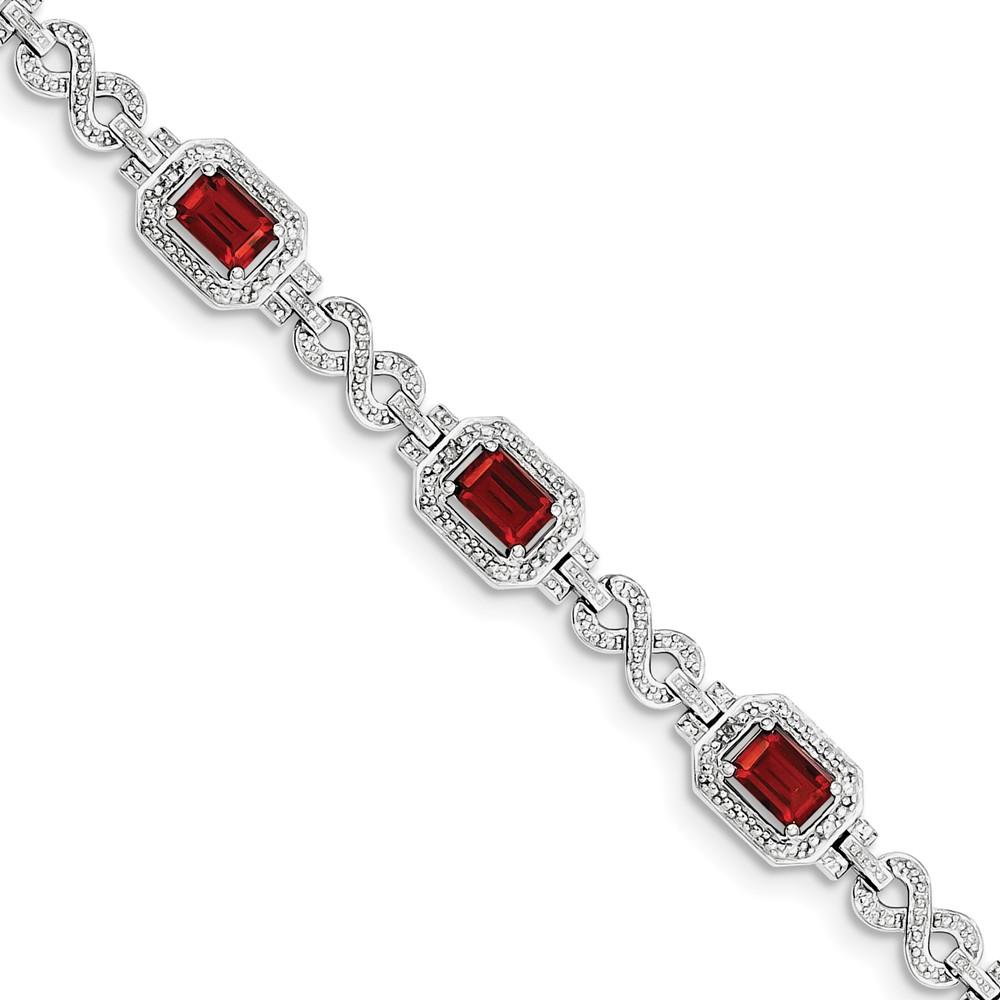 "925 Sterling Silver (0.096cttw) Diamond and Garnet Bracelet -7"" (7in x 8mm) by"