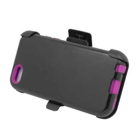 EagleCell Hard Dual Layer Silicone Case w/Holster For Apple iPhone 5C - Black/Hot Pink