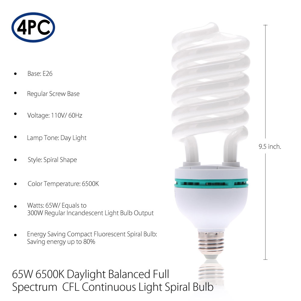 65w Energy Saver Compact Fluorescent 6500k Daylight Cfl Continuous Spiral Bulb For Photography Lighting By Loadstone Studio Wmls1088 Com