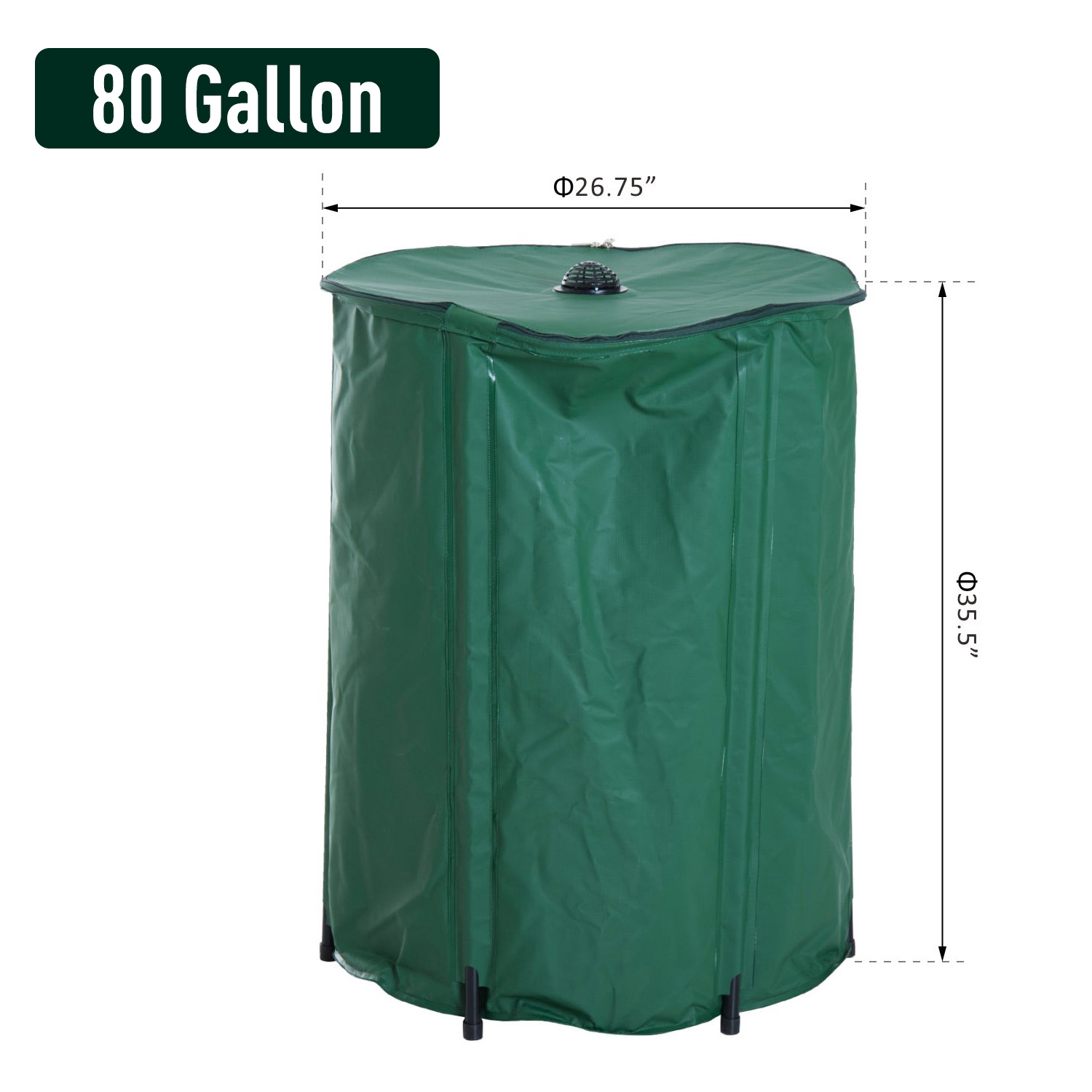 Outsunny 80 Gallon Barrel Rain Harvesting System With Water Catchment Tank