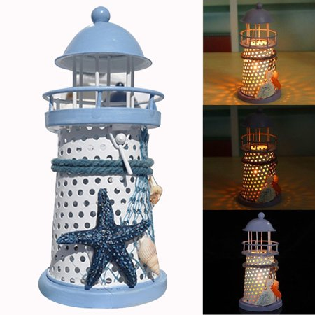 Outtop Mediterranean Lighthouse Iron Candle Candlestick Blue White Home Table Decor NEW