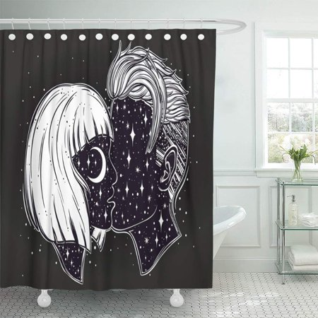KSADK Beautiful of Young Couple Kissing Outer Space on Their Faces Boho Tattoo Bathroom Shower Curtain 60x72 inch](Outer Space Tattoo)