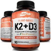 NutriFlair Plant Based Vitamin K2 + D3 Supplement with Bioperine Black Pepper K2 and D3 from Organic Chickpeas and Lichen - Supports Stronger Bones, Heart Health & Immune System, 90 Veggie Capsules