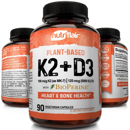 NutriFlair Plant Based Vitamin K2 + D3 Supplement with Bioperine Black Pepper K2 and D3 from Organic Chickpeas and Lichen - Supports Stronger Bones, Heart Health & Immune System, 90 Veggie Capsules Saventaro 90 Capsules