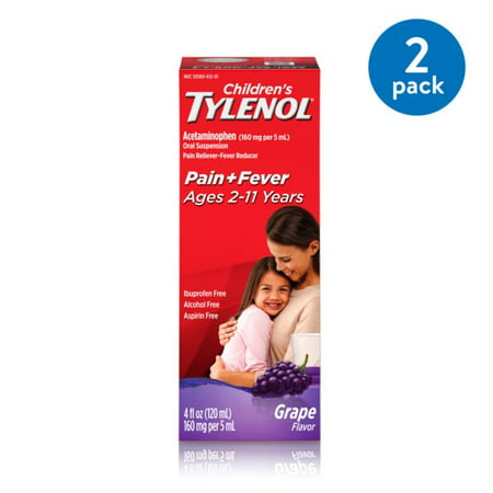 (2 Pack) Children's Tylenol Oral Suspension, Fever Reducer and Pain Reliever, Grape, 4 fl oz Tylenol Childrens Oral Suspension