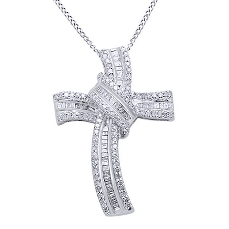 Round Cut White Natural Diamond Intertwine Cross Pendant Necklace In 14K White Gold Over Sterling Silver (0.5 Ct) By Jewel Zone US