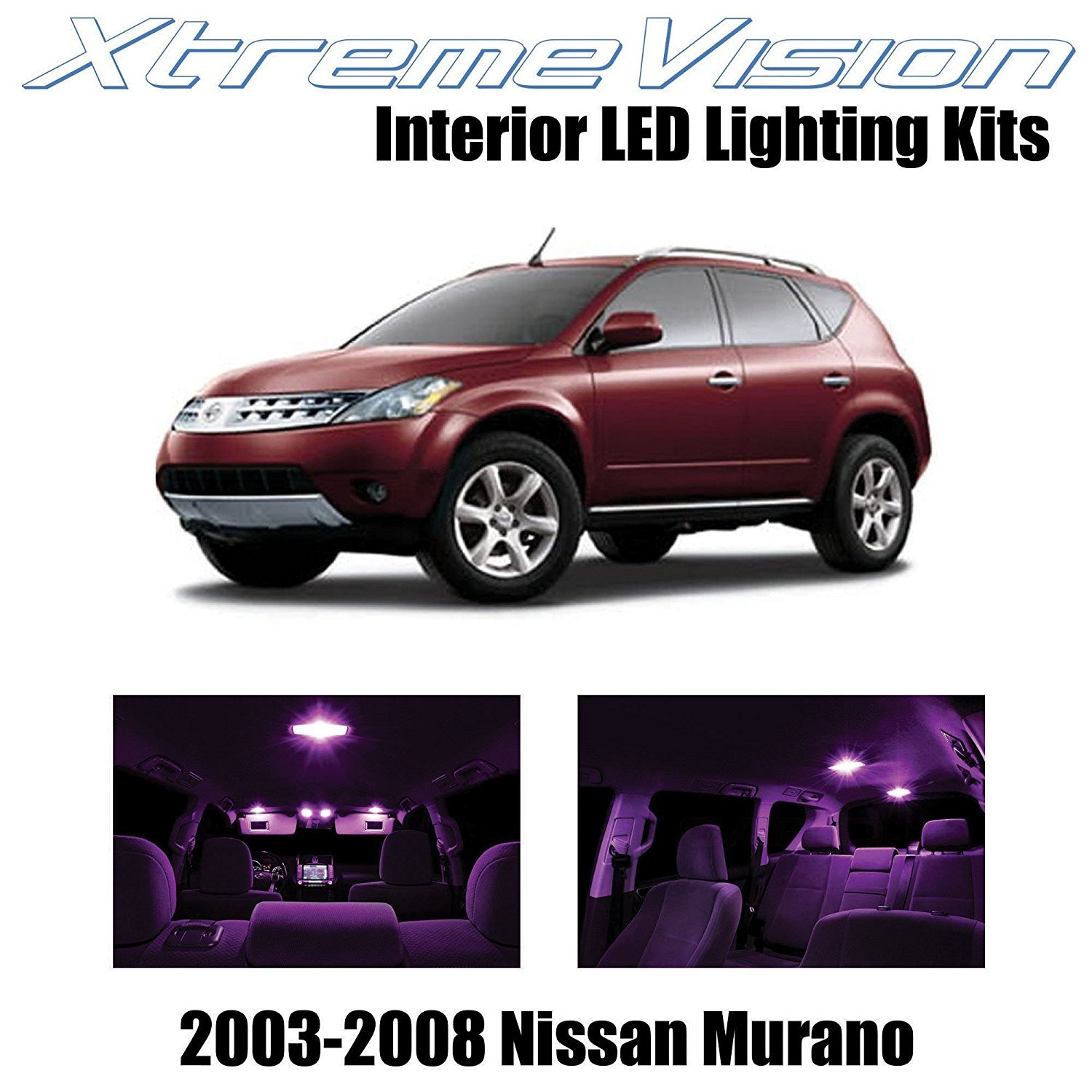 XtremeVision LED for Nissan Murano 2003-2008 (9 Pieces) Pink Premium Interior LED Kit Package + Installation Tool