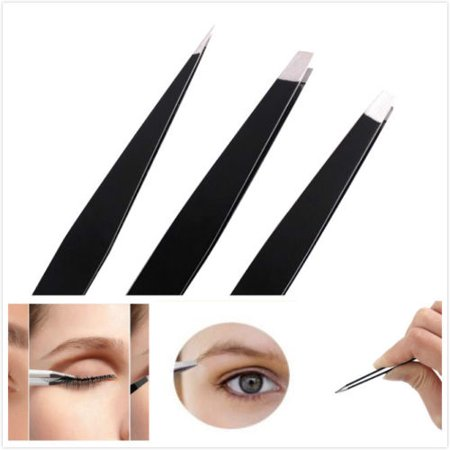 Professional Slant Tip - 3pcs Stainless Steel Slant Tweezer Tip Eyebrow Hair Remover Professional Tool Kit - Black