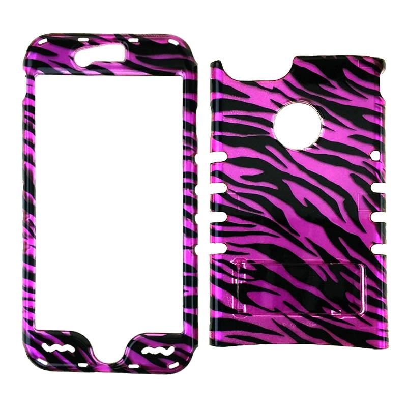 Rocker Snap On Case for Apple iPhone 7 - Transparent Hot Pink Zebra Print