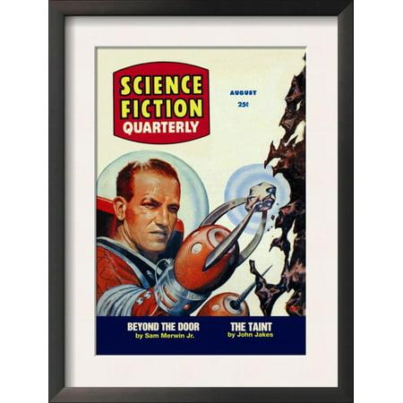 Science Fiction Quarterly: Astronaut Miner Framed Art Print Wall Art  - 14x18.5