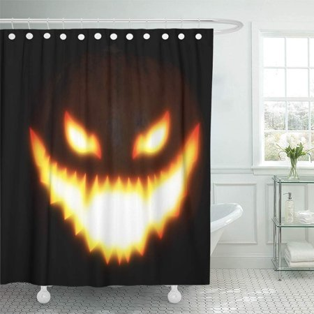 PKNMT Orange Abstract Big Pumpkin with Scary Face for Halloween Manipulation Yellow Autumn Shower Curtain Bath Curtain 66x72 inch