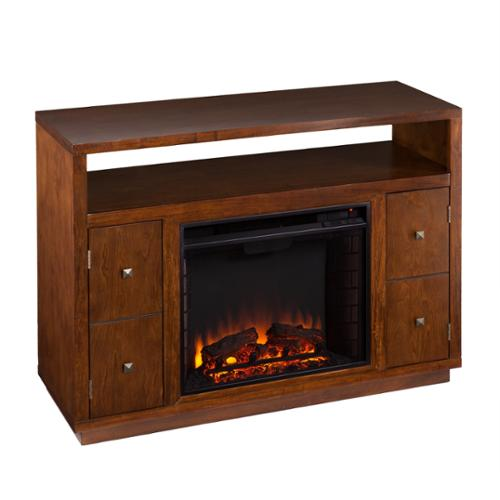Harper Blvd  Hepburn Brown Media Console/ Stand Electric Fireplace