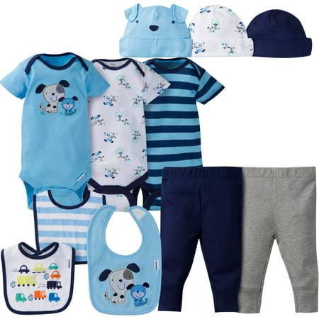 Gerber Newborn Baby Boy Perfect Baby Shower Gift Layette Set, 11-Piece