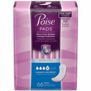 Poise Moderate Absorbency Incontinence Pads Regular Length, 66 CT