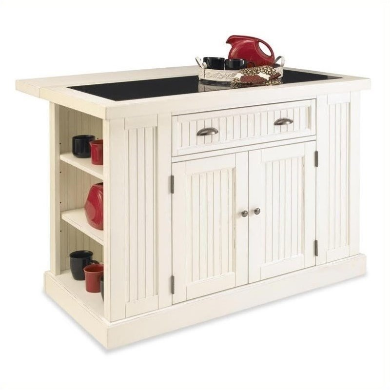 Bowery Hill Kitchen Island in Distressed White