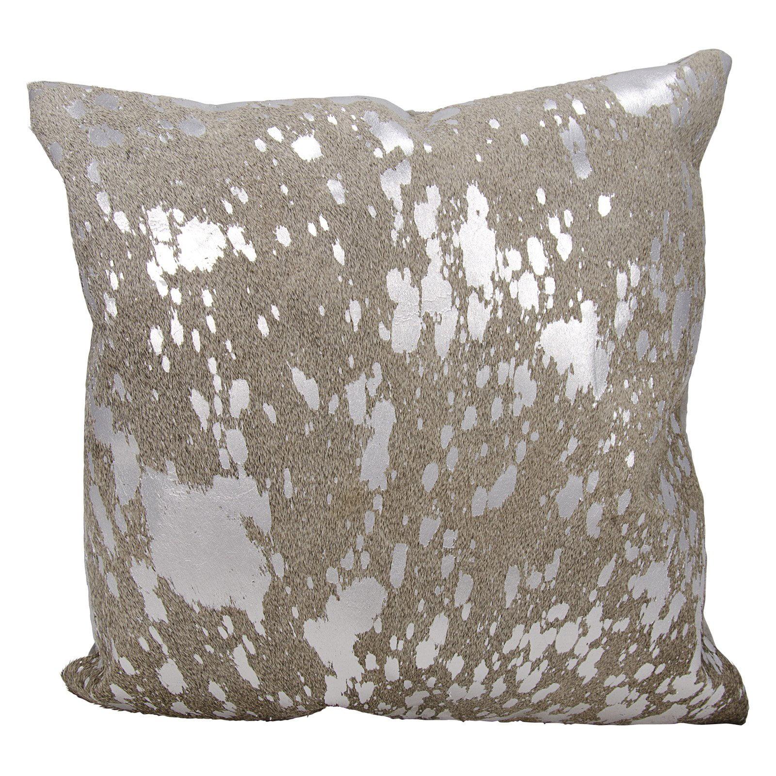 Nourison Couture Natural Hide Metallic Splash Grey/Silver Throw Pillow