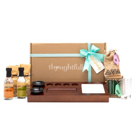 Tequila Cantina Gift Set by Thoughtfully | Includes 4 Tequila Shot Glasses, Chili Salt, Lime Salt, Mini Round Plates and Wood Serving Tray ()