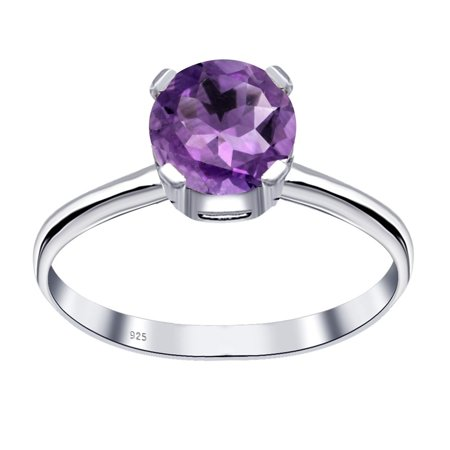 Orchid Jewelry 0.8 Ctw Amethyst 925 Sterling Silver Solitaire Engagement Ring Size -8