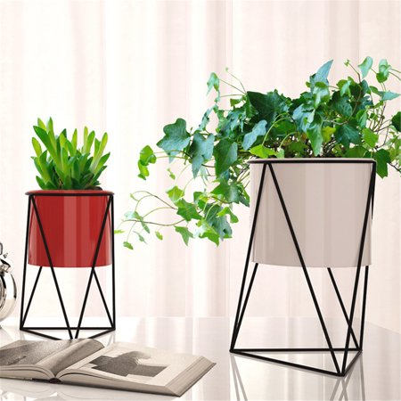 Asewan Geometric Metal Flower Pot Nordic Flower Frame Stand Chic Indoor Garden Plant Holder Display Planter Home Decor ()