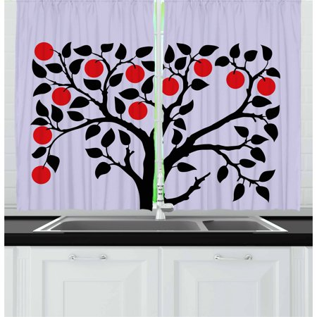 Apple Curtains 2 Panels Set, Black Tree with Ripe Red Nutritious Fruit Flourishing Nature Garden Forest Art, Window Drapes for Living Room Bedroom, 55W X 39L Inches, Lilac Black Red, by Ambesonne