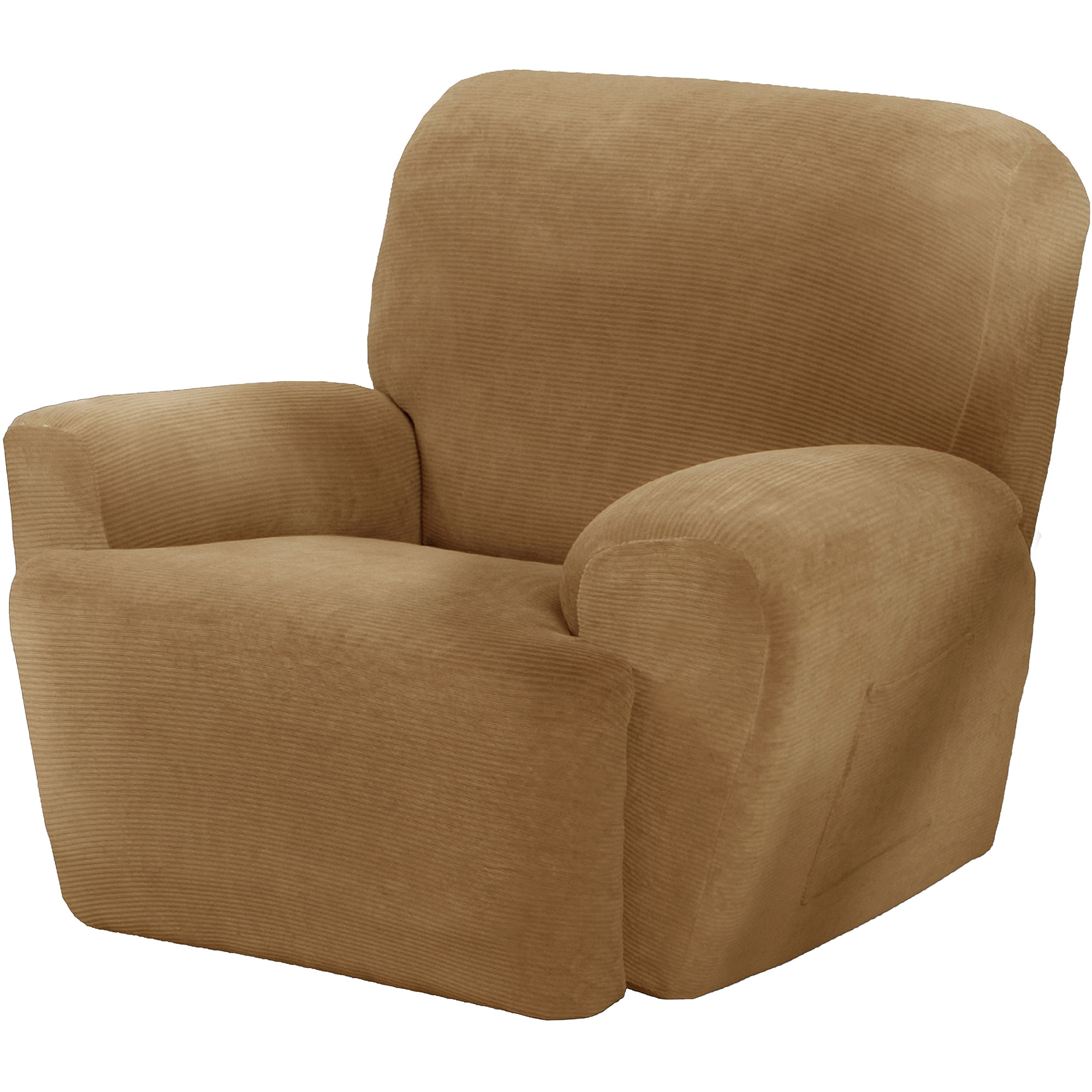 Maytex Stretch Collin 4 Piece Recliner Armchair Furniture Cover Slipcover with Side Pocket, Gold