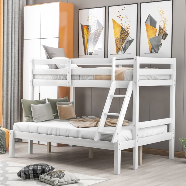 Lowestbest Twin Over Full Bunk Beds With Ladder White Walmart Com Walmart Com