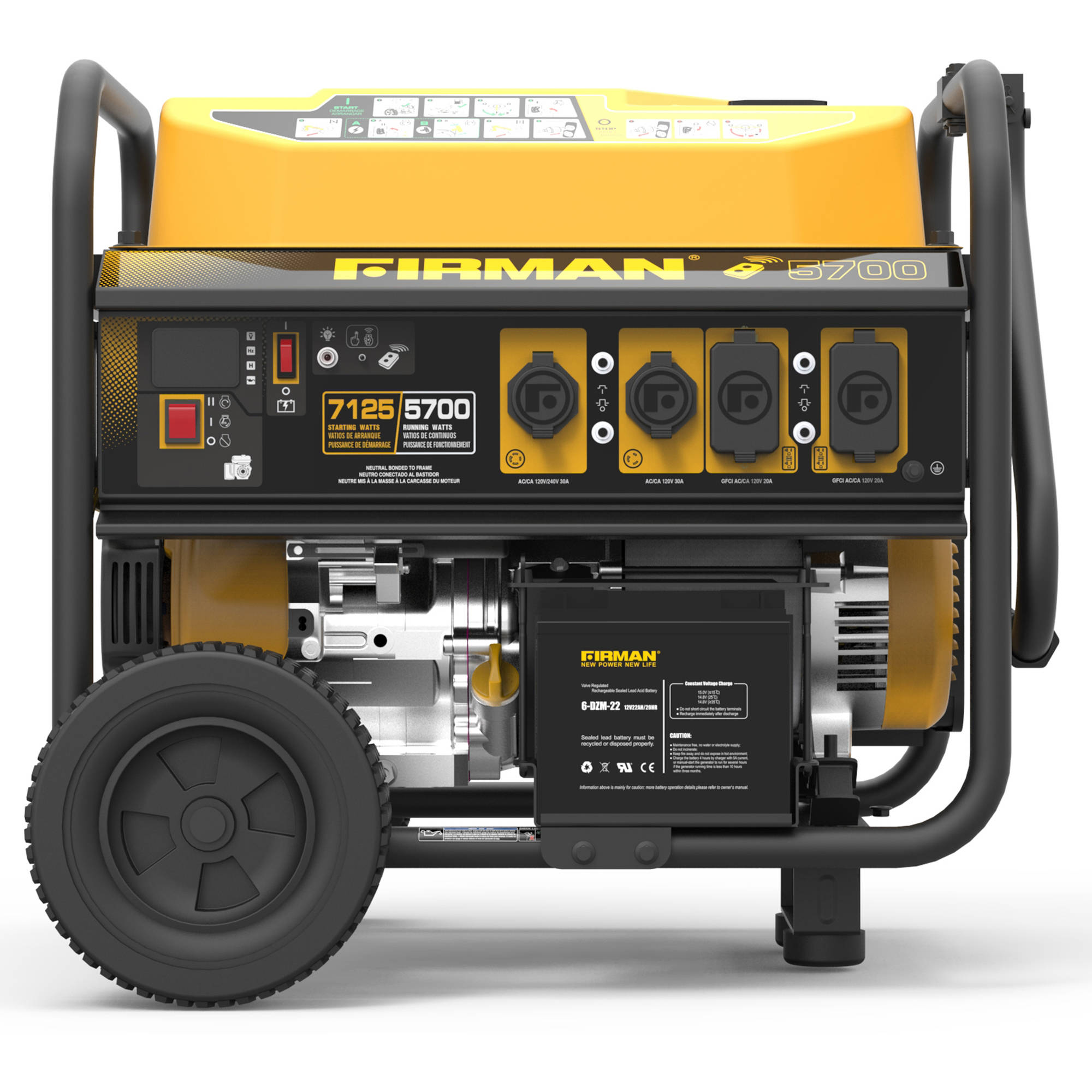 Firman Power Equipment P05702 5700 7100-Watt Portable Remote Start Gas Generator by Firman Power Equipment