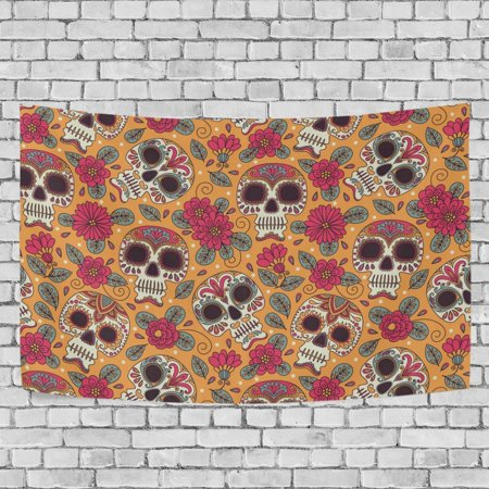 MYPOP Kull And Flowers Mexican Tapestry Wall Hanging Decoration Home Decor Living Room Dorm 80x60 inches - Mexico Decoration