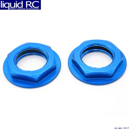 (Hot Racing WHM2306F Aluminum Blue Flanged M17 23mm Hex Lock Nut (2))