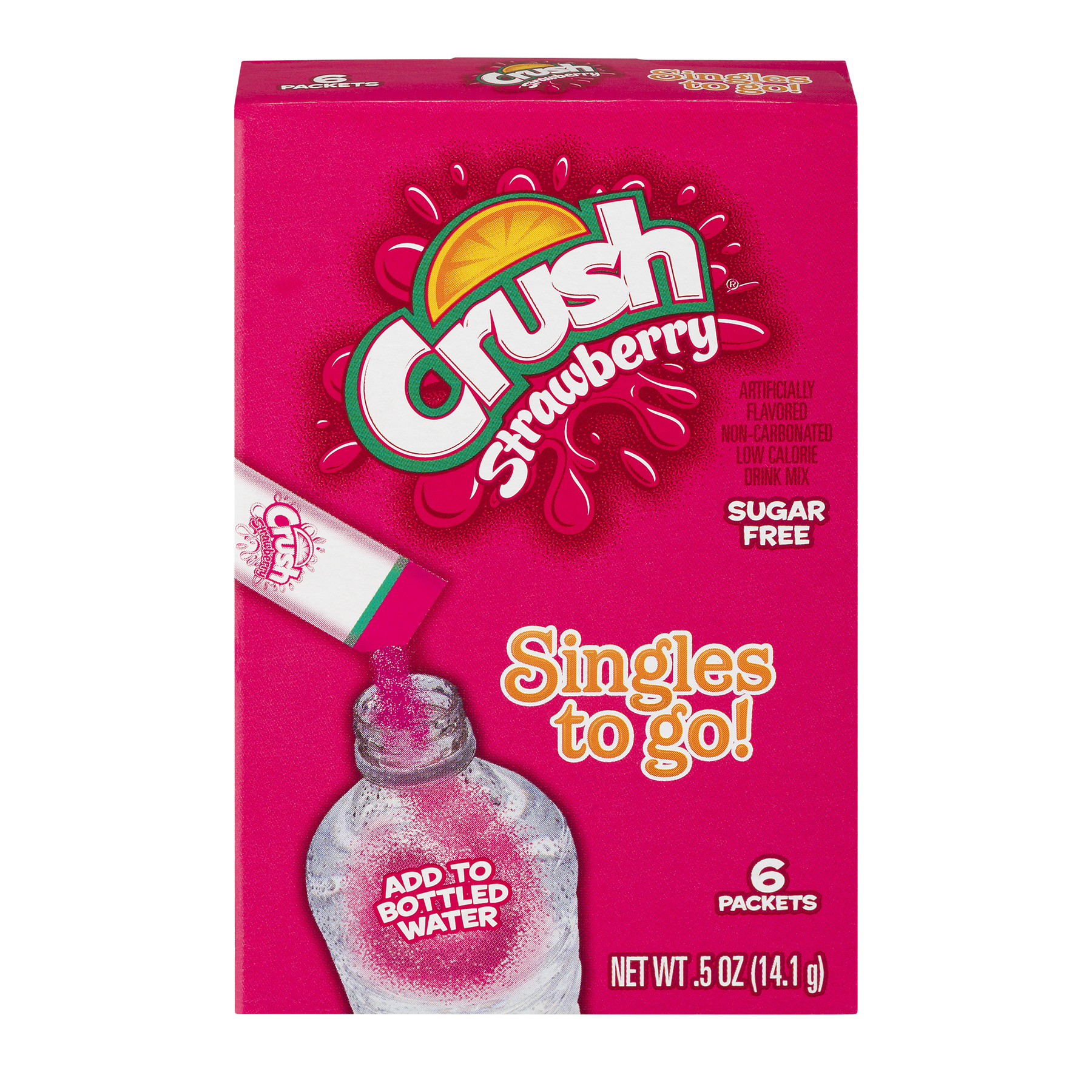 Crush Singles To Go! Low Calorie Drink Mix Sugar Free Strawberry - 6 PK, 0.5 OZ, 12 BOXES