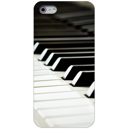 CUSTOM Black Hard Plastic Snap-On Case for Apple iPhone 5 / 5S / SE - Piano Keys