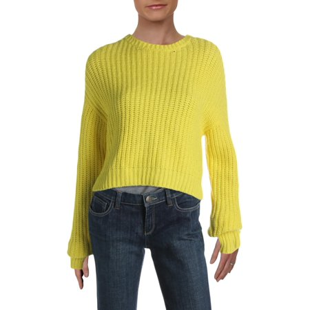 Pam & Gela Womens Wool Blend Knit Crop Sweater Yellow P Knit Wool Blend Sweater