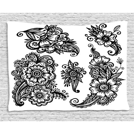 Henna Tapestry, Hand Drawn Style Vintage Mehndi Compositions Blossoming Flowers Retro Fun Design, Wall Hanging for Bedroom Living Room Dorm Decor, 60W X 40L Inches, Black White, by