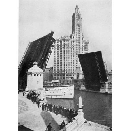 Chicago Drawbridge C1920 Nthe Michigan Avenue Bascule Bridge Chicago Photograph C1920 Rolled Canvas Art     24 X 36