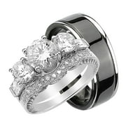 his hers cz wedding ring set sterling silver and black plated titanium