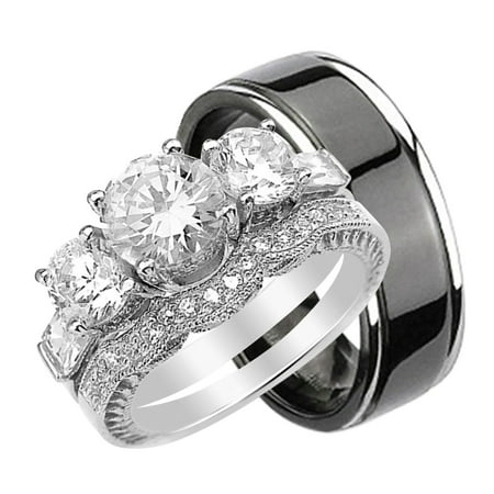 his hers cz wedding ring set sterling silver and black plated titanium - Wedding Ring Set His And Hers