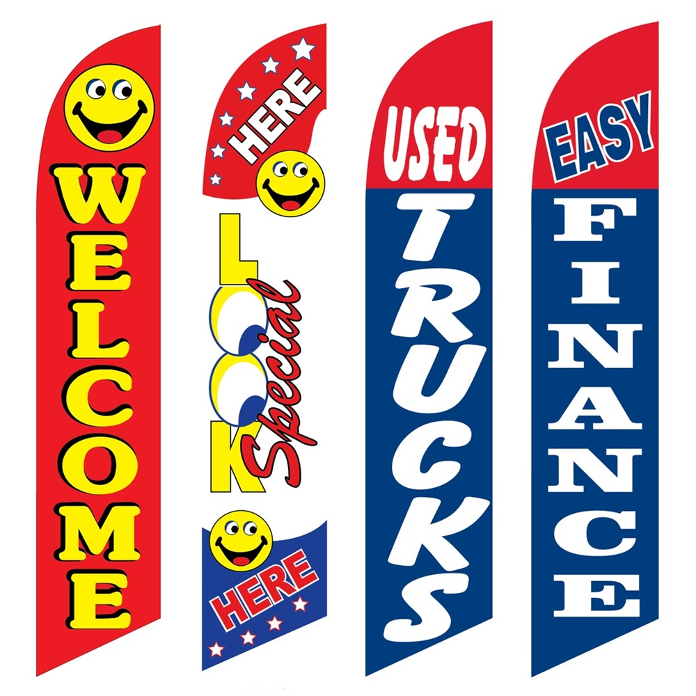 4 Advertising Swooper Flags Welcome Look Special Here Used Trucks Easy Finance Swoper