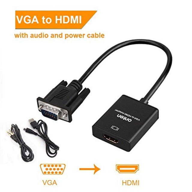 PC Black Onten 1080P VGA Male to HDMI Female Audio Video Cable Converter Adapter for Computer HDTV Desktop VGA to HDMI Monitor Supply a Free Audio Cable and USB Cable Laptop Projector