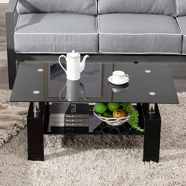 Black Glass Coffee Table With 2 Tier Tempered Glass Boards Modern Side Center Coffee Table With Lower Shelf Wooden Legs Sturdy Rectangle Sofa Side Tables Cocktail Living Room Furniture Q14338 Walmart Com