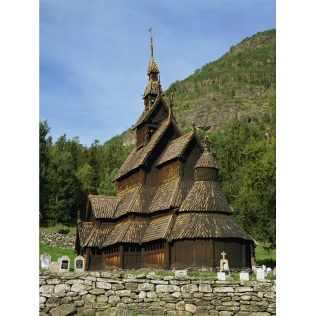 Best Preserved 12th Century Stave Church in Norway, Borgund Stave Church, Western Fjords, Norway Print Wall Art By Gavin