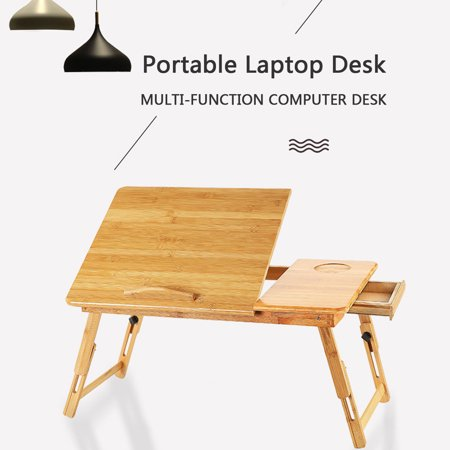 Adjustable Portable Folding Table Bed Desk Stand With Drawer For Computer Laptop Notebook PC(Wood) - image 4 of 10