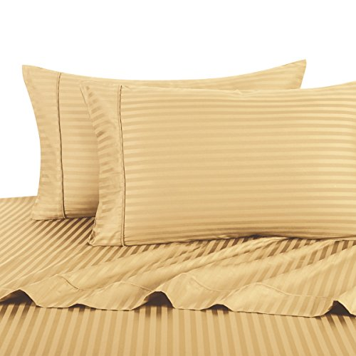 Sheetsnthings 100% Cotton, Bed Sheet Set - 600TC, Twin Extra Long (TXL) Gold Stripes - Soft, Deep Pocket, 3PC Sheets