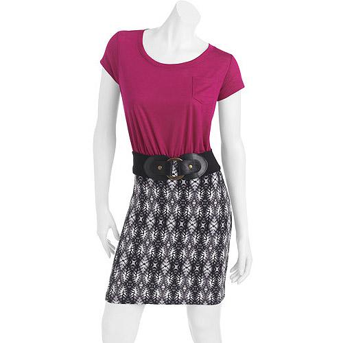 No Boundaries Juniors Body Con T-Shirt Dress w/ Belt
