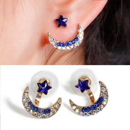 Half Moon Earrings - Sexy Sparkles Ear Jacket Stud Half Moon Earrings Back Ear Cuffs Stud Earring