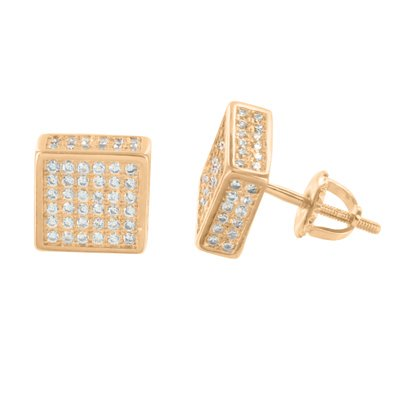 Rose Gold Finish Earrings Square Shape Custom Vintage Style Mens Ladies 9 MM New