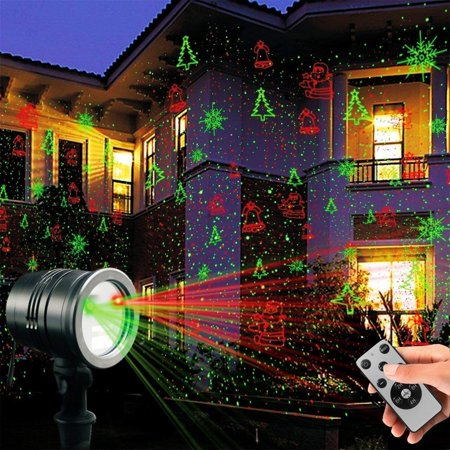 Laser Decorative Lights Garden Laser Light Projector + Remote Control Indoor Outdoor Decorations 5W Light show (Green, Red, Cola, Bell) for Halloween, Christmas, Party, Holiday etc. (Halloween Light Show Timer)