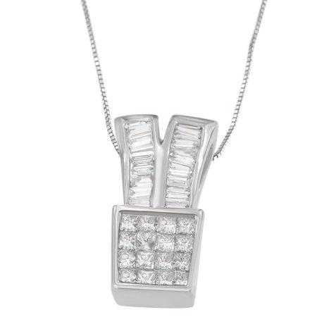 14K White Gold 1 1/3 CTTW Princess and Baguette Cut Diamond Sparkling Shapes Pendant Necklace (H-I, SI1-SI2)