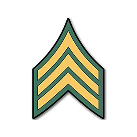 US Army Rank SERGEANT Chevron Shaped Sticker Decal (military decal) 4 x 4 (Army Chevron)